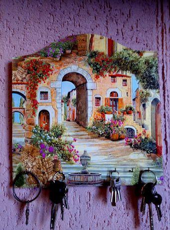 Ключниця, подарок. Ключниця настінна. Італьянский дворик.