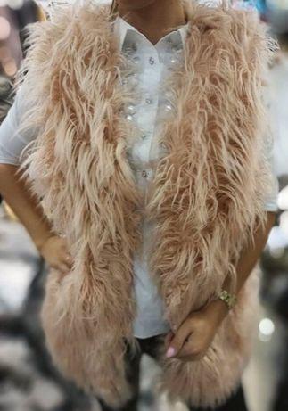 Kamizelka futrzana włosie długie pudrowy roz ciepła