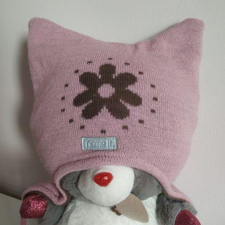 Зимняя шапка для девочки 6-12м,теплая шапочка name it как reima lenne