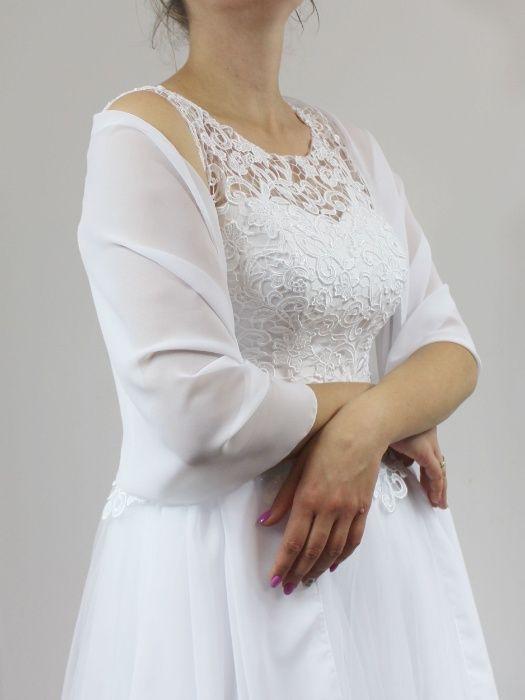 Elegancki szyfonowy szal ślubny nakrycie ślubne
