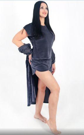 Пижама женская велюровая, с шортами, домашний комплект