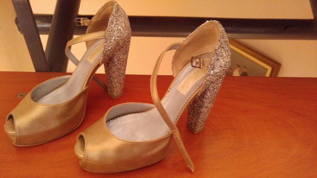 Sapatos Dourados e Prata glitter