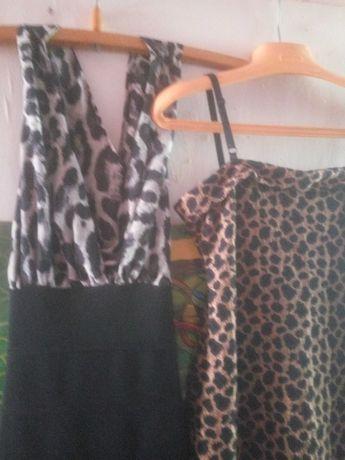 Платье леопард стрейч гипюр мини, платье верх леопард низ черный