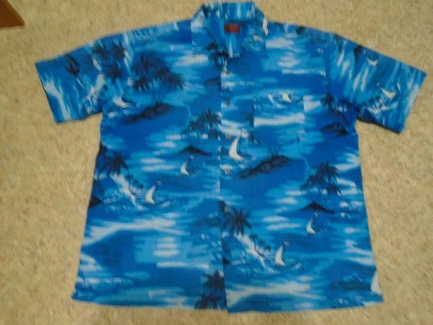Рубашка гавайская р. L-XL объём груди 130см длина 70см