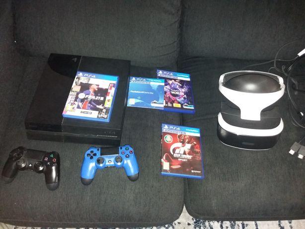 Ps4 + PlayStation VR com jogos e dois comandos e FIFA 21.