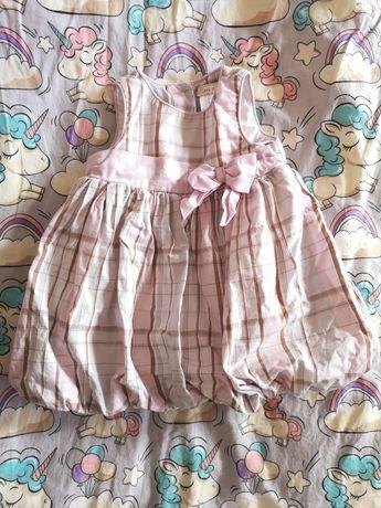 Sukienka wizytowa, elegancka kratka r. 6- 9 miesięcy