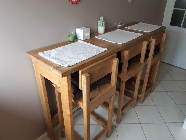 Stół dębowy + trzy wysokie krzesła PILNIE