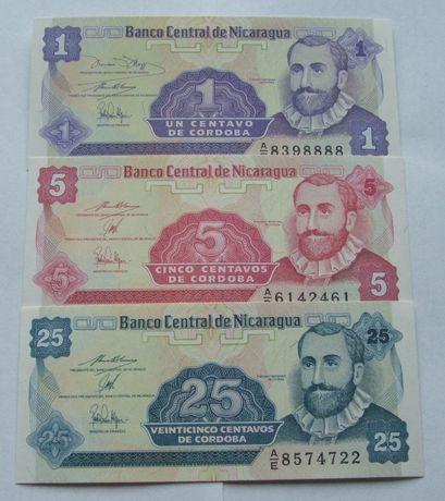 Banknoty NIKARAGUA - Z PACZKI BANKOWEJ - Zestaw Kolekcjonerski