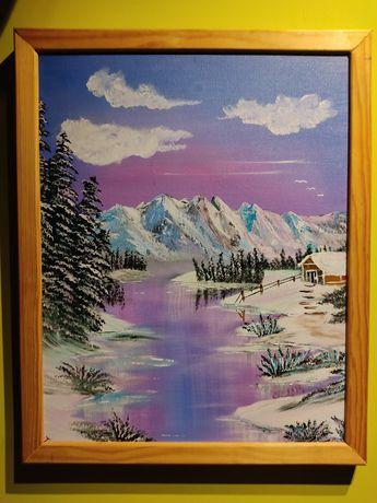 """""""Pejzaż alpejski""""- przepiękny obraz olejny na płótnie!"""