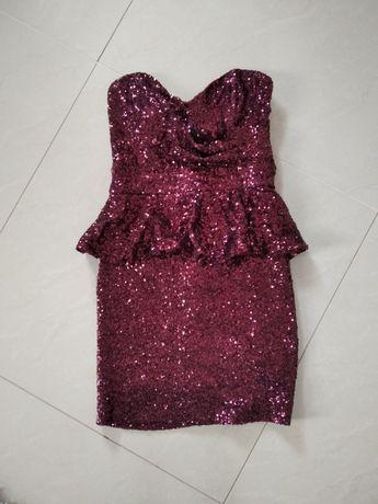 Sukienka cekinowa mini dopasowana baskinka gorsetowa Miso S bordowa