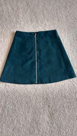 Nowa spódniczka h&m z metką zamszowa trapezowa szmaragdowa xxs 32
