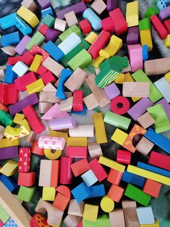 Mega zestaw drewniane klocki, pociąg, przyczepka, zabawki dla dzieci