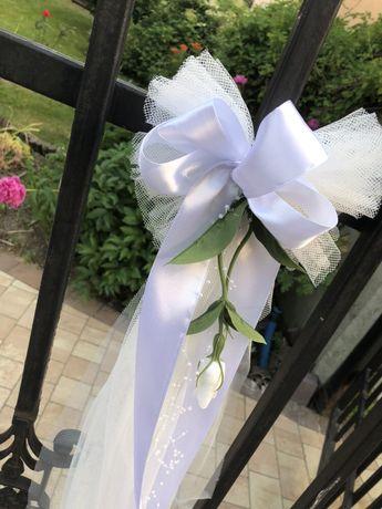 Dekoracja domu ozdoby ślubne białe kokardy tiulowe wystrój