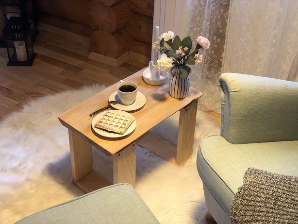 Stolik kawowy, lite drewno loft 54cm30x38