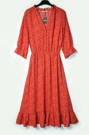 Вискозное красное платье в принт цветы