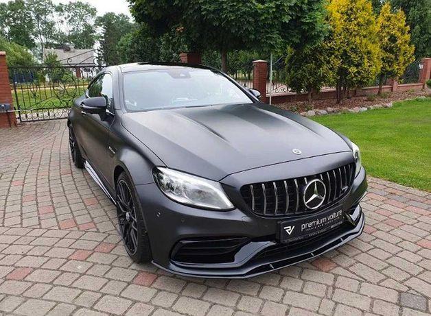Czarny Mercedes C43 AMG Coupe do ślubu wynajem samochód na wesele ślub