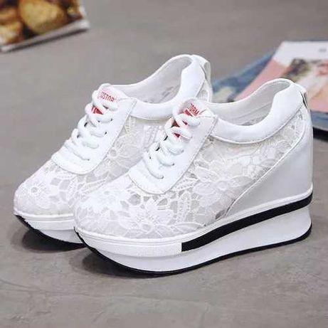 Sneakersy koronkowe białe 37