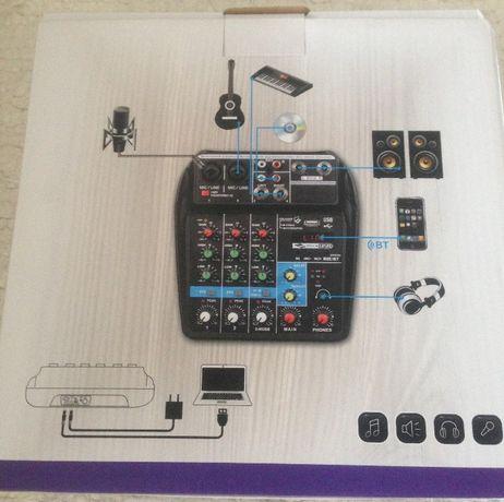 Mixer TEYUNG 4 kanałowy z kartą muzyczną, zasilany USB i z sieci