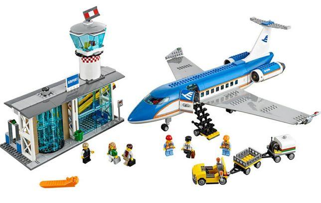 Lego, оригинал. Огромный пассажирский терминал аэропорт 60104 самолёт