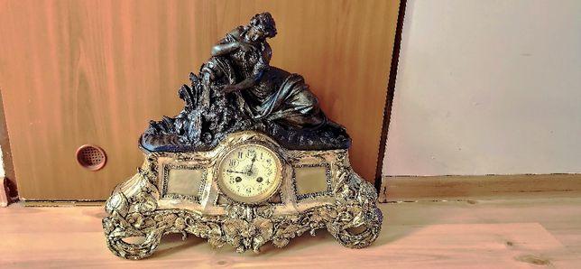 Niespotykany, bardzo duży, zegar figuralny kominkowy ,XIXw,Francja