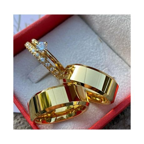 Para Fazowanych Złotych Obrączek Ślubnych