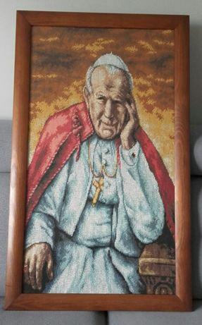 Obraz ręcznie haftowany papież Jan Paweł II