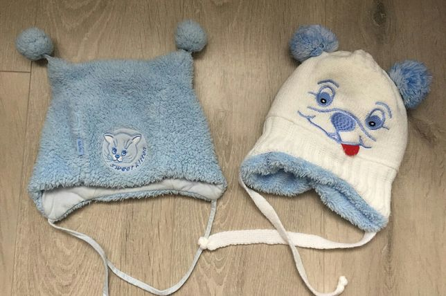 зимняя шапка на мальчика голубая белая 46 48