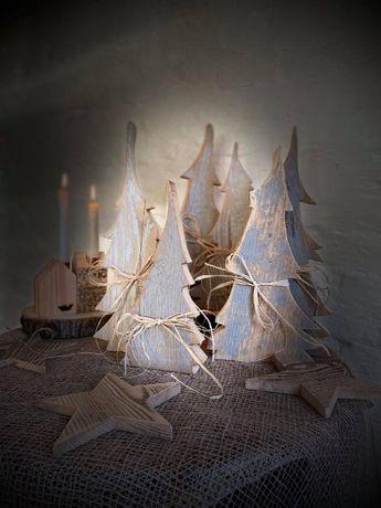 Świąteczne choinki z drewna Dekoracje świątecznie Ozdoby 2szt.