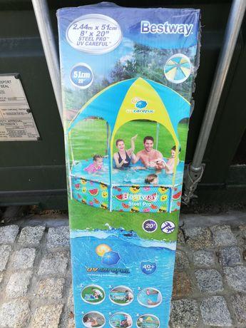 Basen ogrodowy dla dzieci z zadaszeniem 244 x 51 cm stelażowy