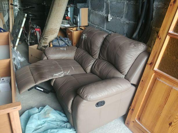 Kanapa Sofa dwuosobowa | wysuwane podnóżki | do renowacji