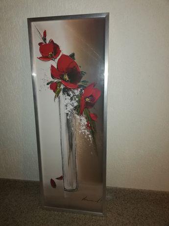 Obraz kwiaty za szkłem