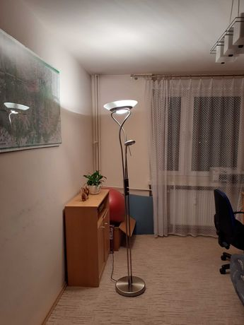 Lampa stojąca podłogowa ze ściemniaczem, 2 źródła światła,kolor satyna