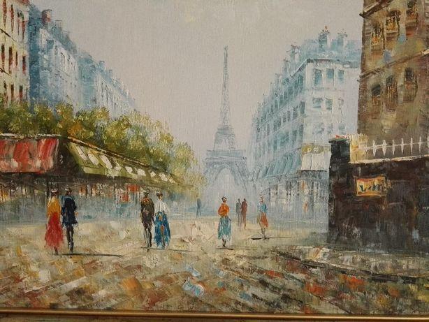 Óleo S/Tela Original Emoldurado Técnica de Pintura a Espátula Paris