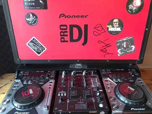 Pioneer CDJ 400 X2 DJM400 + case i okablowanie