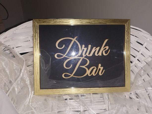 Napisy na drink bar, księgę i słodki stół