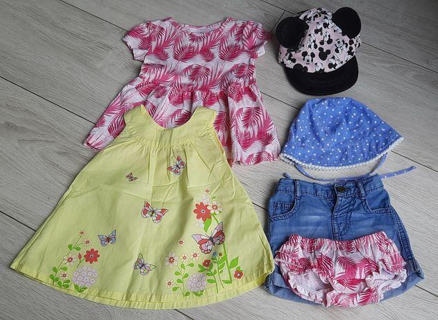 Sukienki bloomersy szorty czapeczki na lato dla dziewczynki rozm 62/68