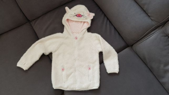 Puchata misiowa bluza cool club smyk r. 92 kaptur kotek uszy kokardka