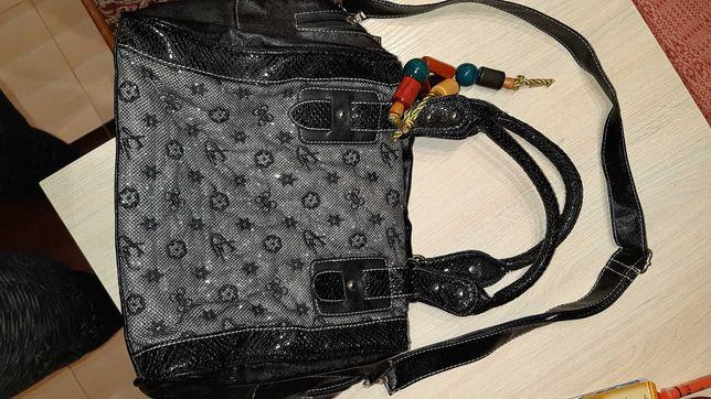 Луи ветон (крутая подделка) вместительная черная серебро сумка