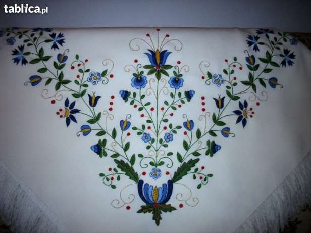 Chusta kaszubska reczne haftowana biala