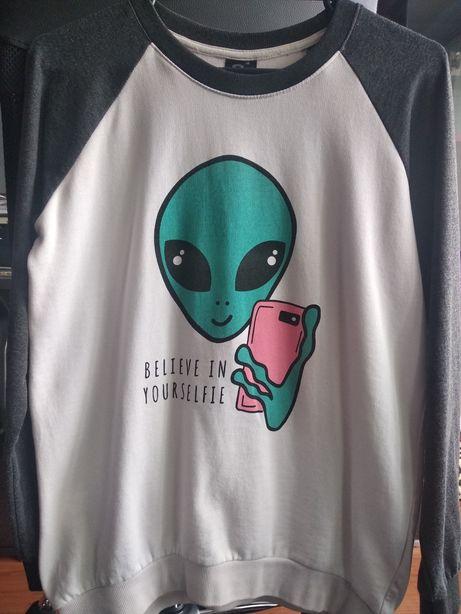 Bluza S Sinsay Alien selfie - ufo galaxy tumblr