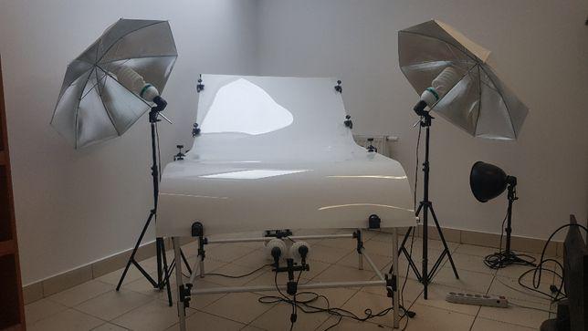 Zestaw do zdjęć - stół bezcieniowy lampy