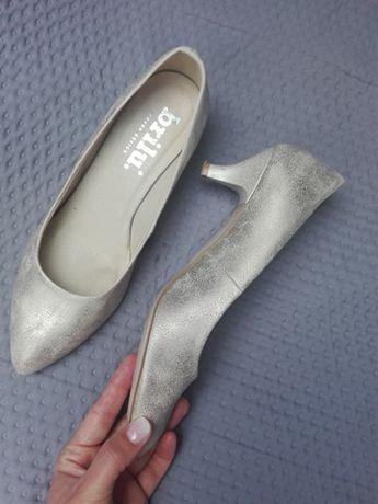 Buty ślubne brilu 38 rozmiar, szampańskie, niski obcas