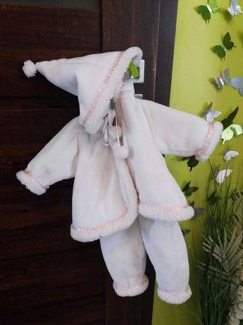 Ubranko pelerynka strój komplet do chrztu zima dla dziewczynki 68