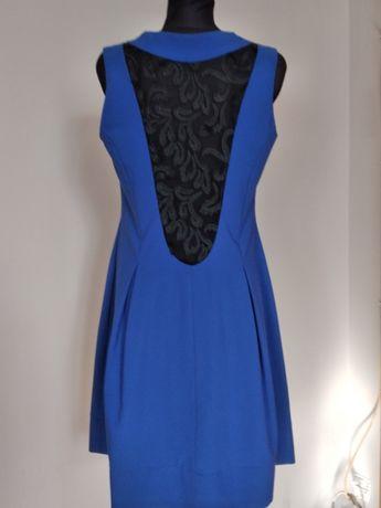 Niebieska sukienka - zdobiony tył - 40 42 L XL