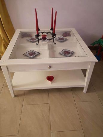 Duża biała ława stolik ze szkłem