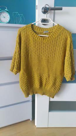 Sweter narzutka kolor musztardowy