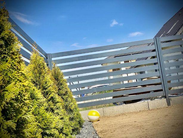 Ogrodzenia metalowe, poziome, nowoczesne, palisadowe