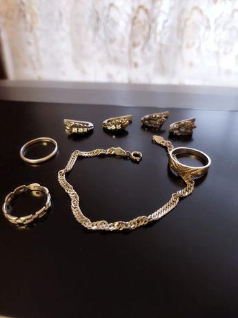 Серебряные серьги, браслет, кольца
