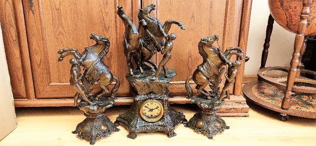 Niespotykany, wielki zegar figuralny z przystawkami ,Francja
