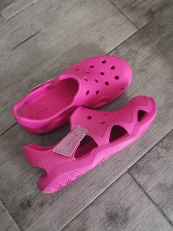 Sandały klapki Crocs różowe Swiftwater Wave 204021 c13